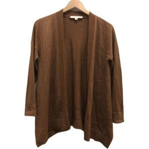 LOFT Brown Open Front Long Sleeve Sweater oversize